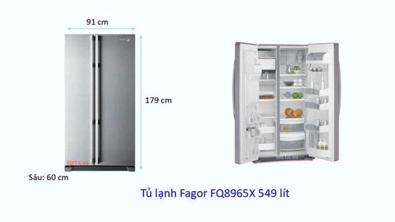 Kích thước tủ lạnh Side by side Fagor 549 lít
