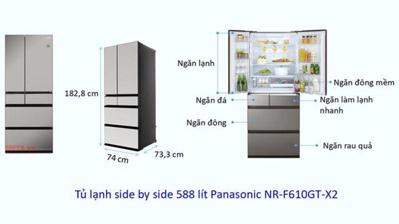 Kích thước tủ lạnh Side by side Panasonic 588 lít